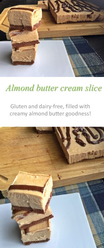 An almond butter cream slice - made gluten and dairy free with no refined sugar - an indulgence you can seriously enjoy! #almondbutter