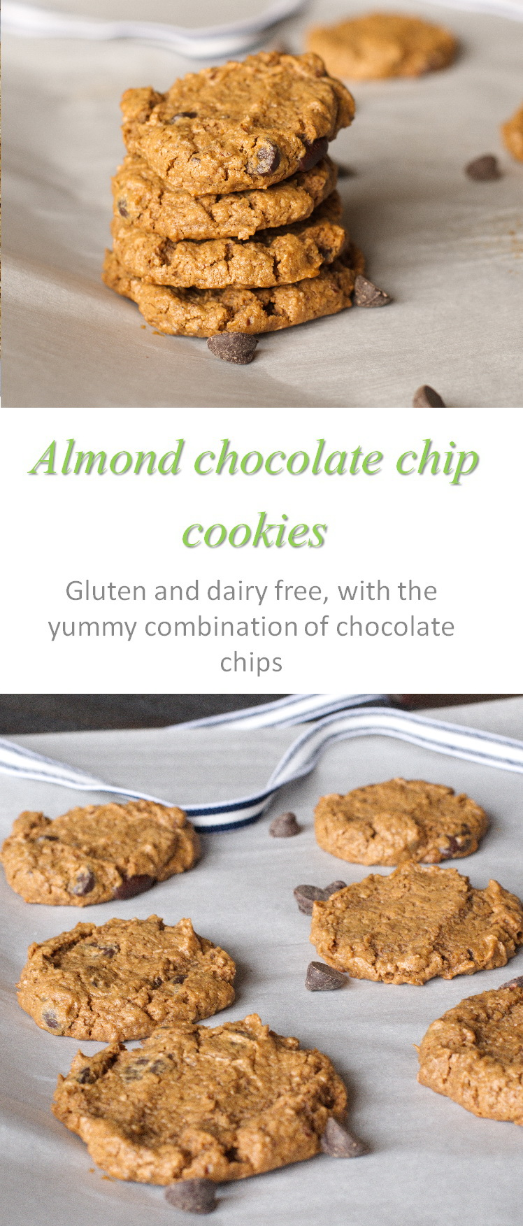 A different texture for flourless almond chocolate chip cookies, with bursts of chocolate chips and almond butter to tease your tastebuds. #cookies