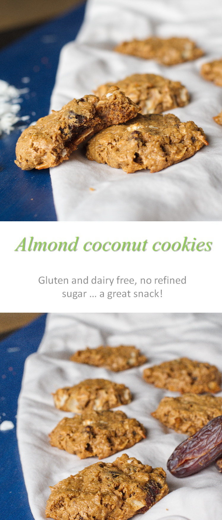 Gluten, dairy and refined sugar-free chewy and moist almond coconut cookies, with the added sweetness of dates! #cookies