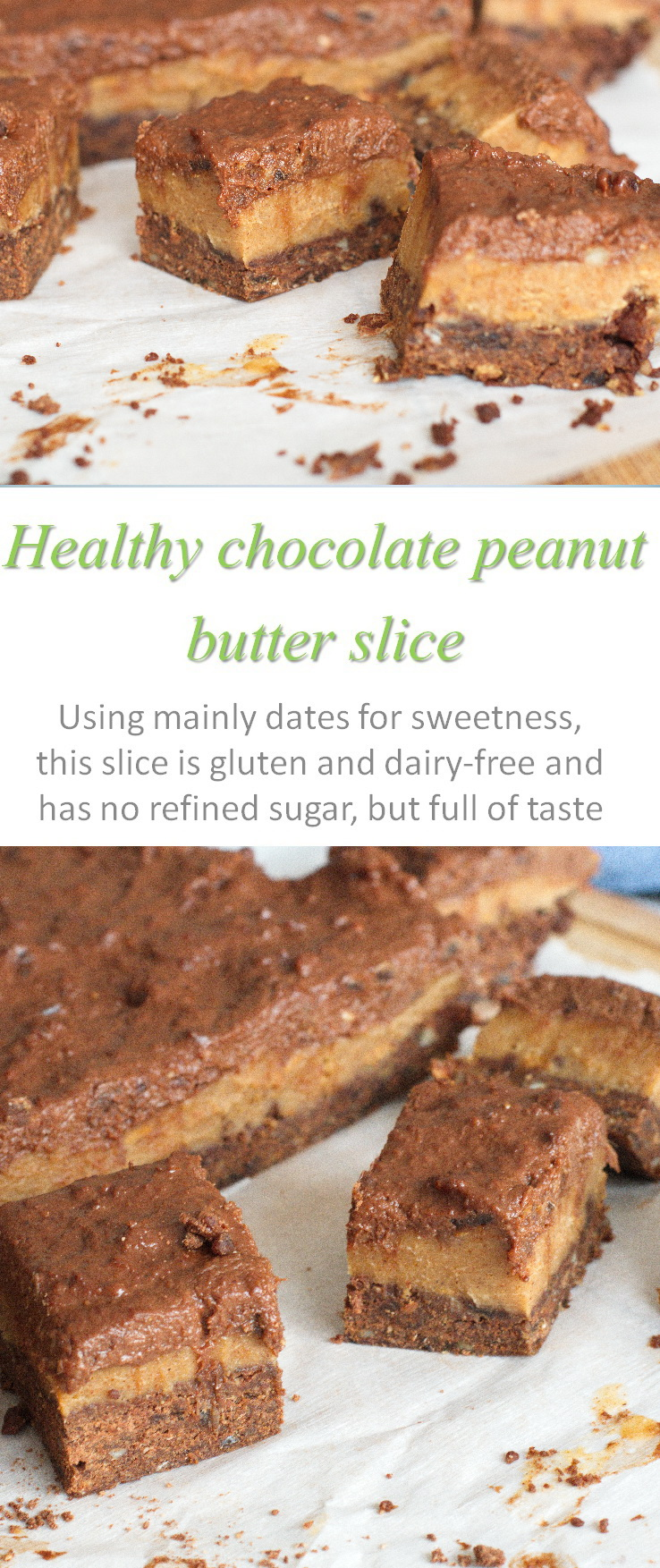 Another chocolate and peanut butter slice using all natural, non-processed ingredients, and your food processor, to produce heaven in your mouth! #peanutbutter
