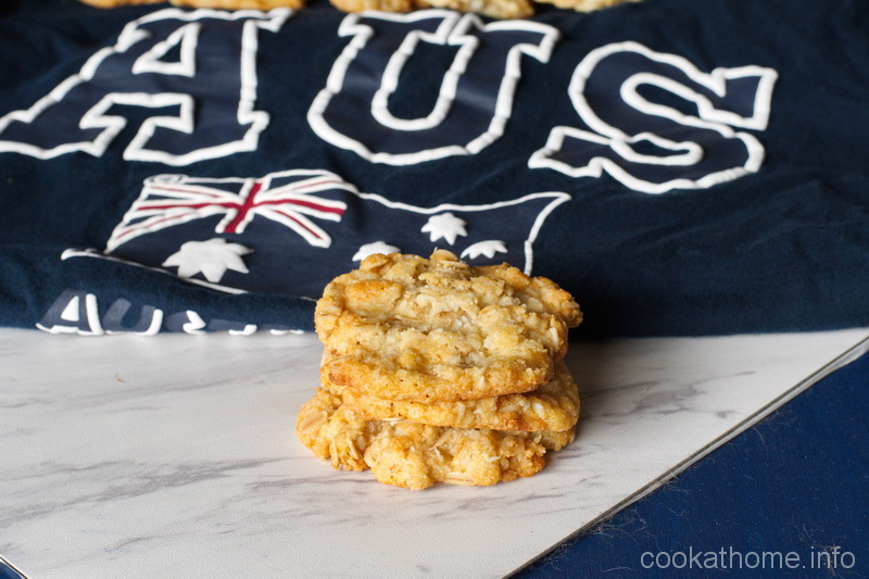 These Anzac biscuits are sweet and chewy using oats, coconut and golden syrup as the magical ingredient. #anzac #cookathome #glutenfree #dairyfree