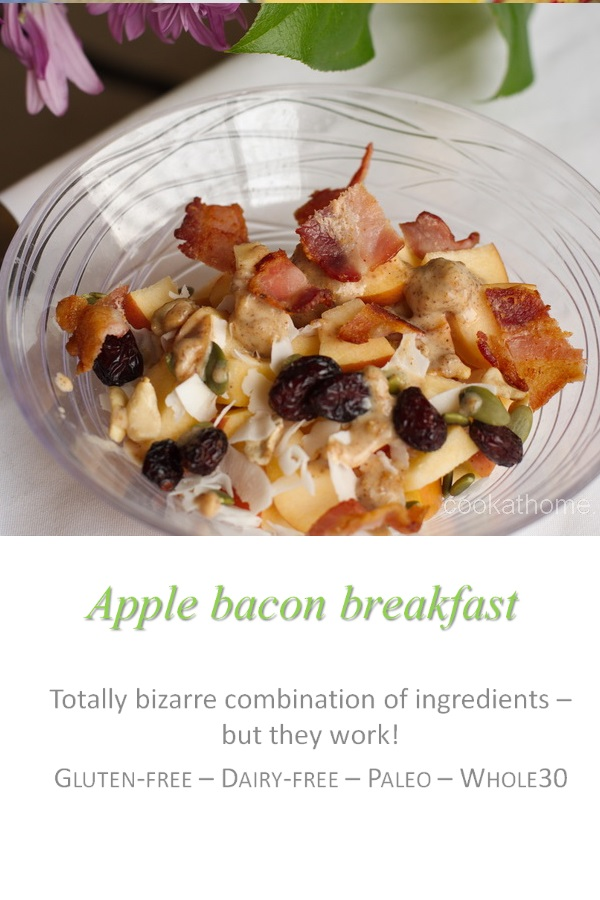 My strange but surprisingly yummy apple bacon breakfast - apple, trail mix, sunflower seed butter and ... bacon.  Because bacon makes everything better! #bacon #cookathome #glutenfree #dairyfree #paleo #whole30