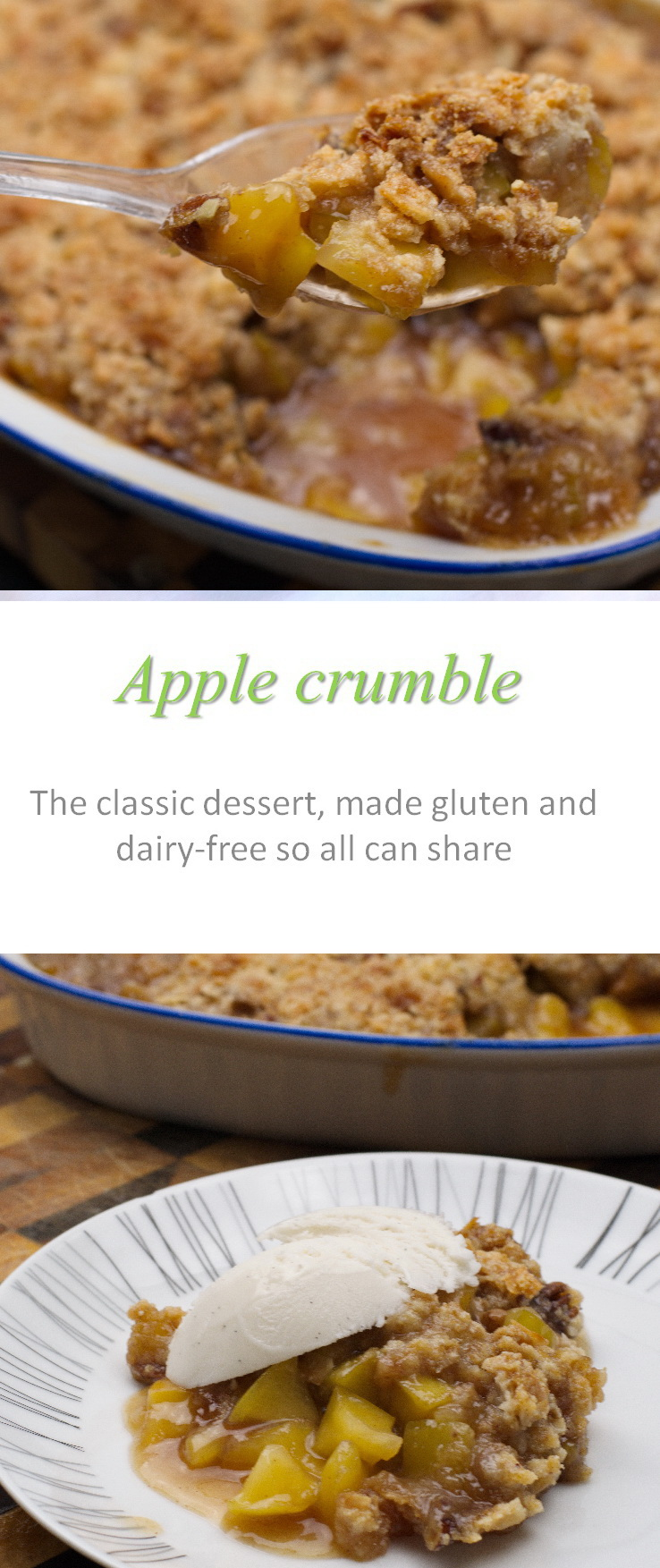 Cinnamon and oats in the crumble topping, yummy apple slices - awesome apple crumble topped with whatever your heart desires! #applecrumble