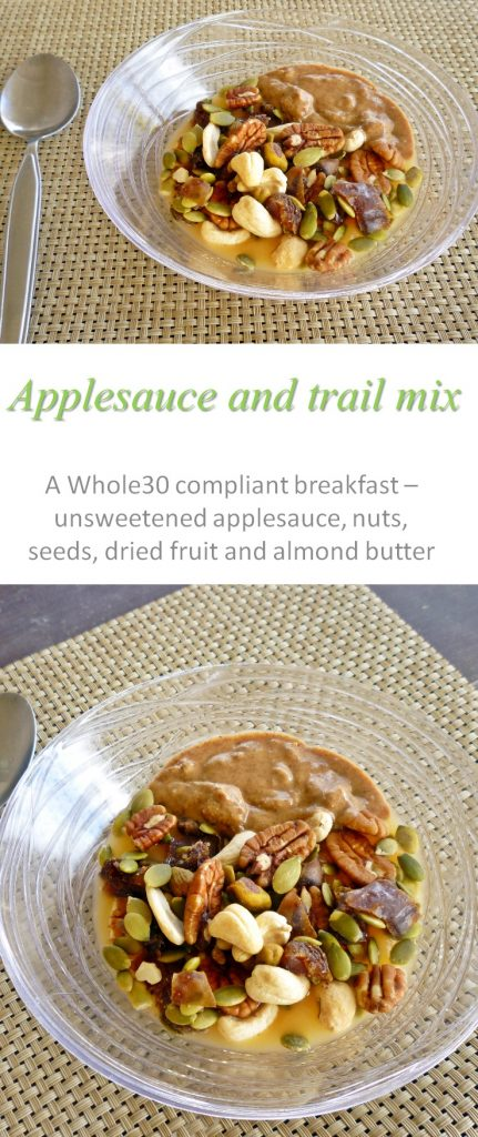 A Whole30 compliant breakfast - applesauce trail mix - full of fruit, nuts, seeds and yummy almond butter to keep you full for hours! #breakfast