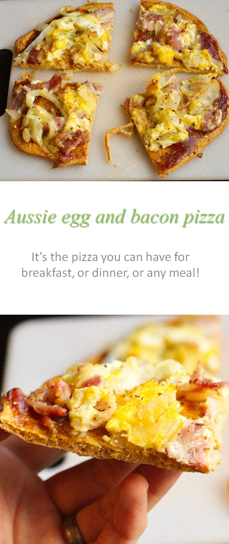 Not sure why it's called an Aussie egg and bacon pizza, but this re-creation of a family favorite hits the spot! #pizza