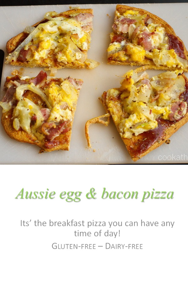 Not sure why it's called an Aussie egg and bacon pizza, but this re-creation of a family favorite hits the spot! #pizza #cookathome #glutenfree #dairyfree