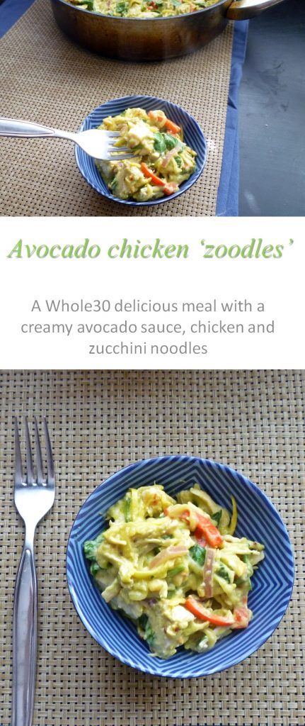 A creamy avocado chicken sauce over zucchini noodles makes this Whole30 meal very satisfying and a real crowd pleaser #avocado #whole30