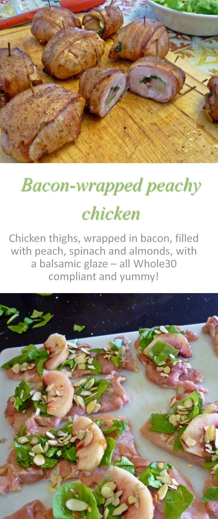These bacon wrapped peachy chicken thighs are a unique combination of ingredients, smoked and enjoyed by all! #bacon #chicken