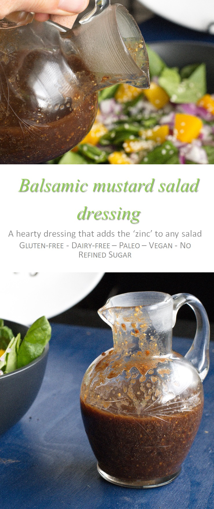 This balsamic mustard salad dressing is so awesome, and can be used in other salads, as it gives a special oomph to what can be a pretty boring meal. #saladdressing #cookathome #glutenfree #dairyfree