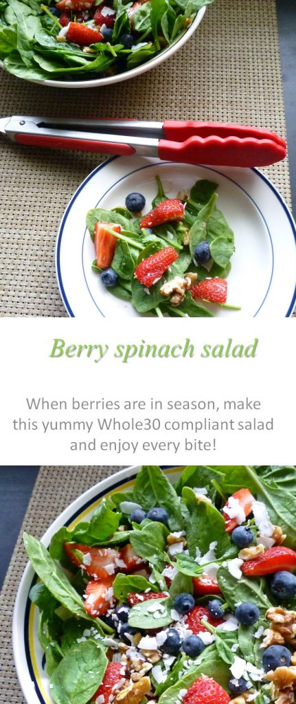 Berry spinach salad with strawberries, blueberries, coconut, walnuts and spinach - you have gotta try this Whole30 compliant salad! #salad