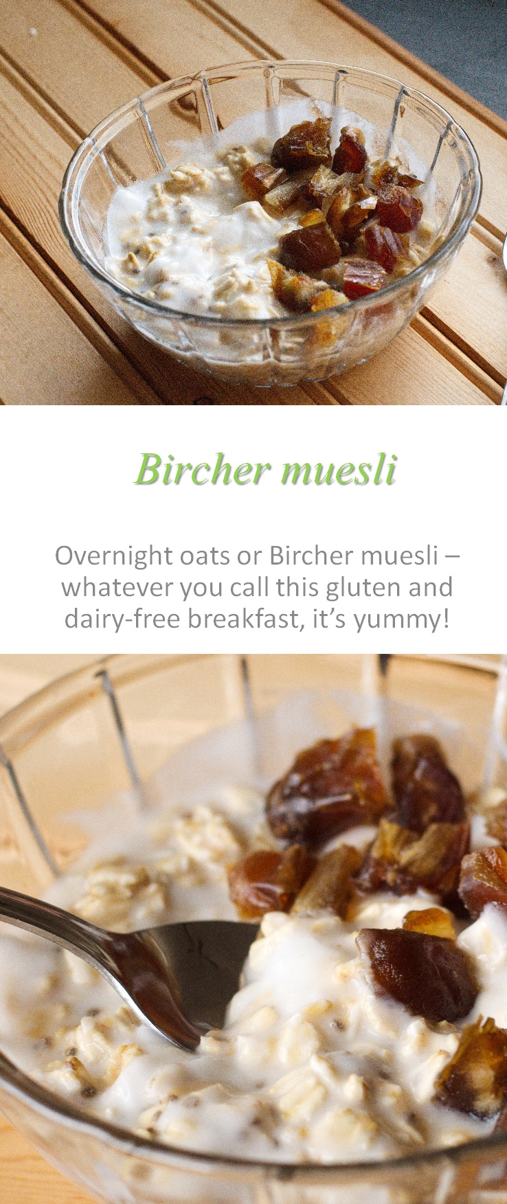 A pseudo-Bircher muesli, gluten-free and dairy-free with oats, fruit and yogurt that is hearty and satisfying for the whole morning #muesli