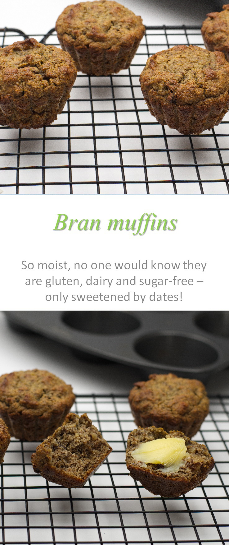 Gluten and dairy-free bran muffins, sweetened only with dates, that are really moist and yummy with almost any topping you wish, or just plain! #bran