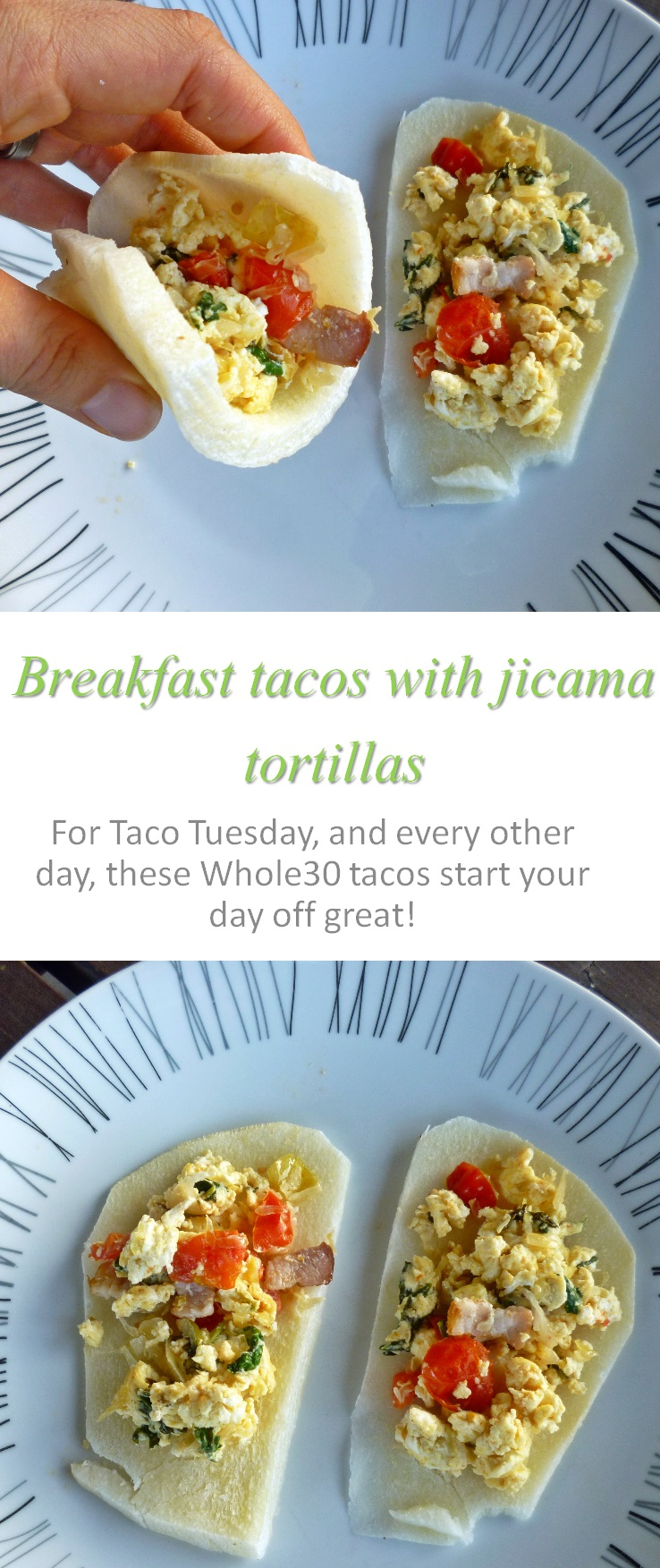 Try this breakfast taco with jicama tortilla for something different ... any meal of the day! #taco