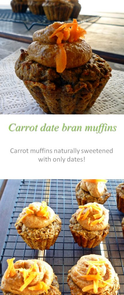 Carrot walnut bran muffins, with no added sugar - yummy enough for a snack, healthy enough for breakfast! #muffin