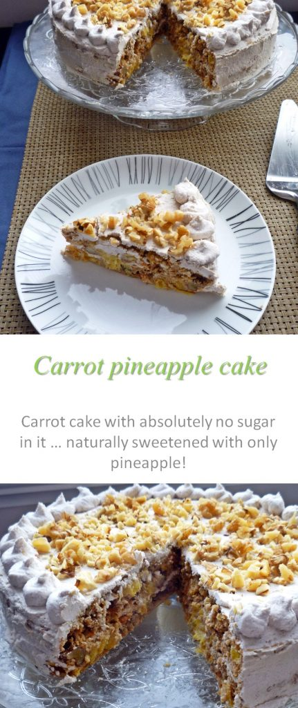 This carrot pineapple cake combine the classic flavors of carrot and pineapple in this Paleo friendly, no added sugar delicacy #carrotcake