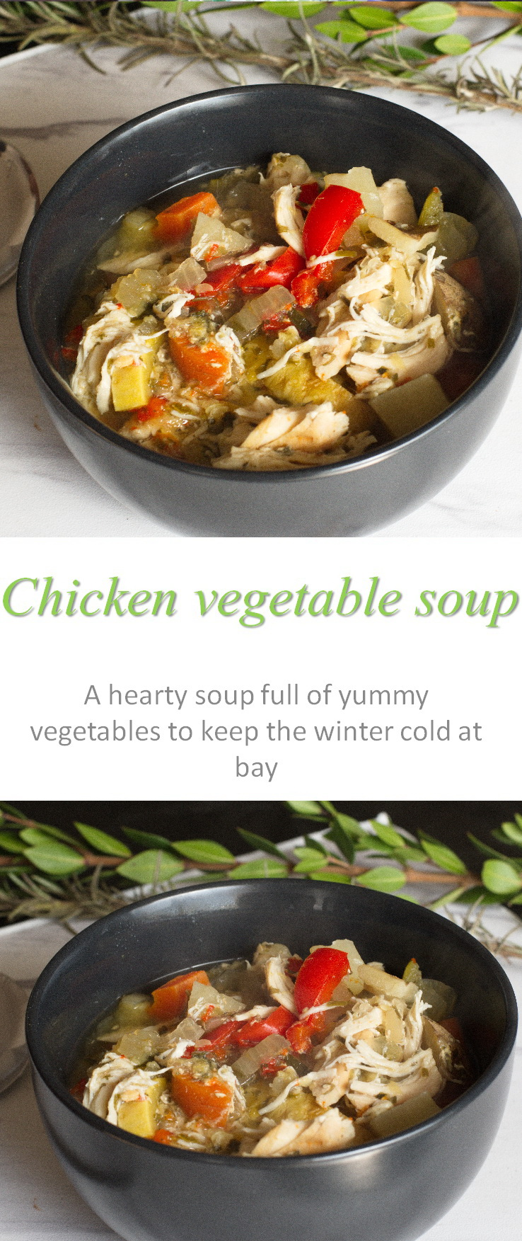 A hearty meal, this chicken vegetable soup is chock full of healthy vegetables and chicken, with just enough herbs to give it an awesome taste. #chicken