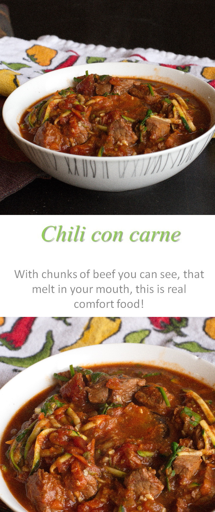 A really simple and yummy chili con carne recipe that you set and forget in the slow cooker, with chunks of tender, fall-off-the-fork beef. #chiliconcarne #cookathome #glutenfree #dairyfree