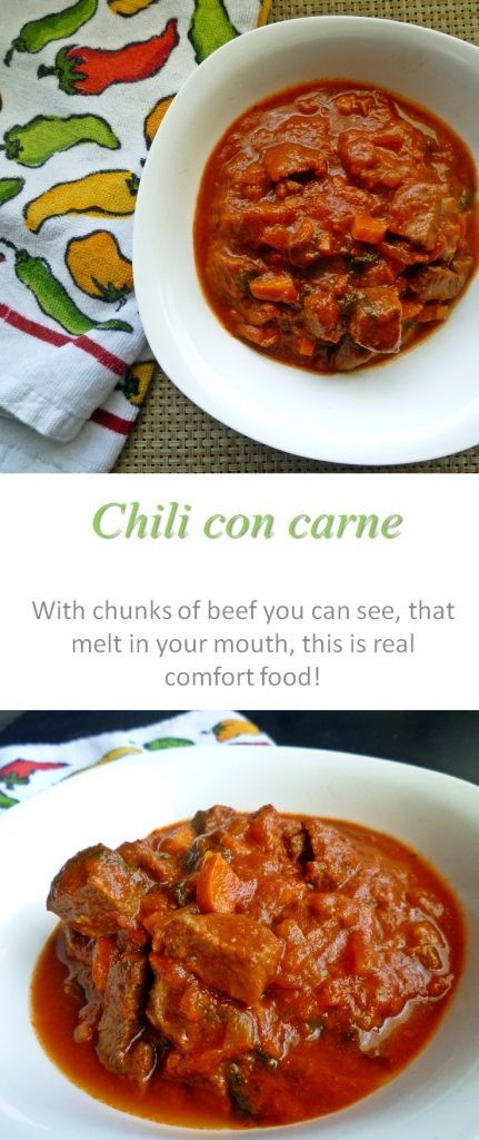 A really simple and yummy chili con carne recipe that you set and forget in the slow cooker, with chunks of tender, fall-off-the-fork beef. #chili