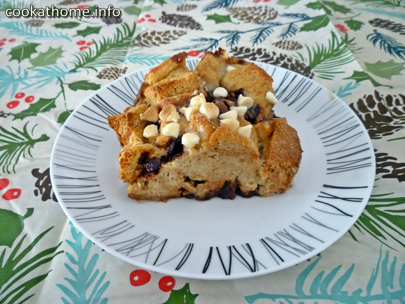 A bread pudding, inspired by Nigella Lawson, is a delicious way to use up stale (gluten-free) bread, with chocolate chips and a sweet custard filling! #breadpudding