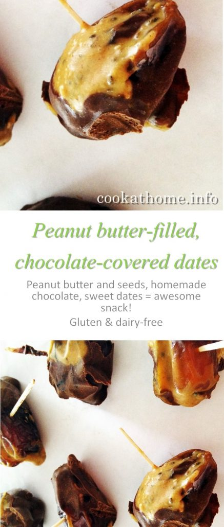 Peanut butter & seeds filling a sweet Medjool date, dipped in homemade dairy-free chocolate - these peanut butter chocolate dates are an awesome snack!