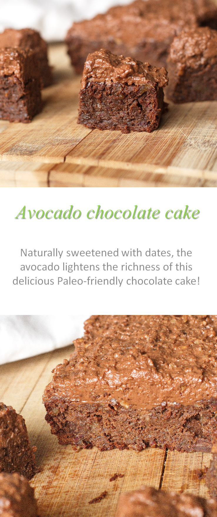 A naturally-sweetened, Paleo-friendly, rich avocado chocolate cake with the awesome green ingredient! #chocolatecake