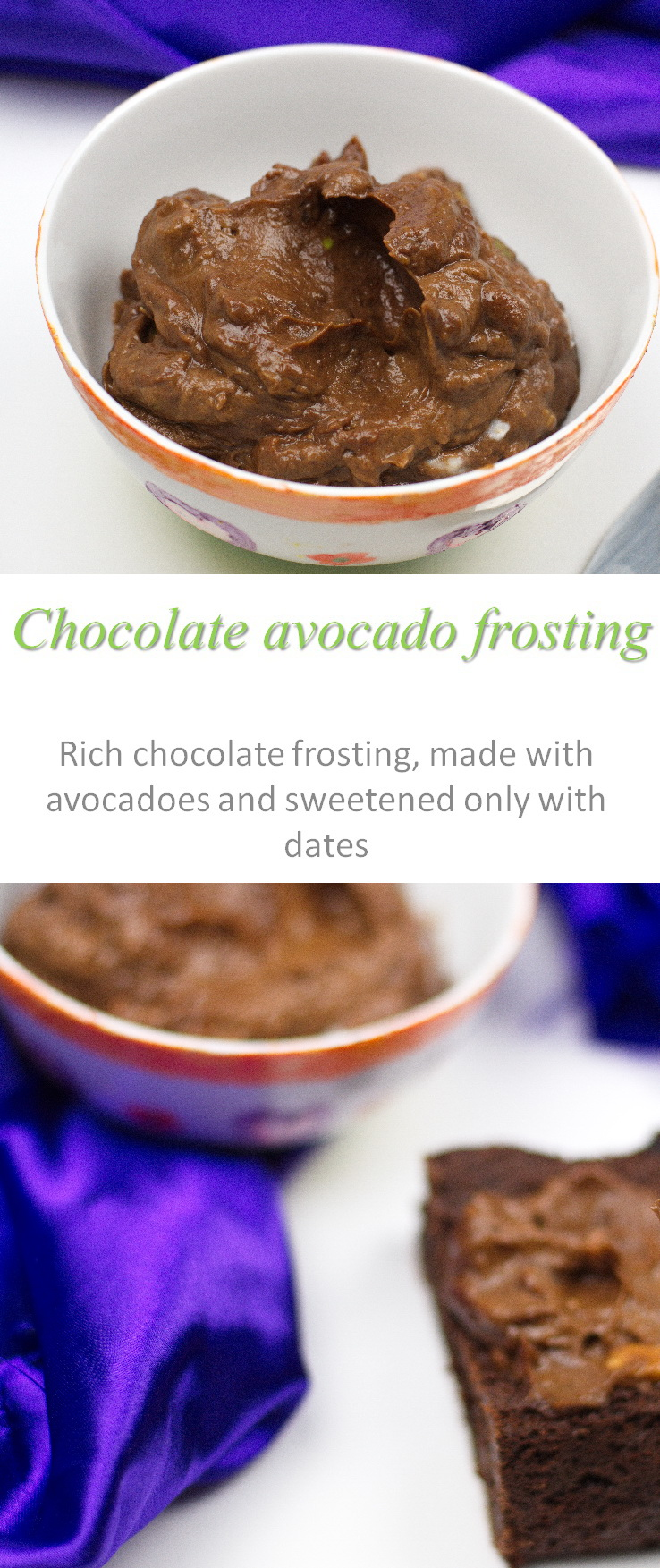 A rich Paleo-friendly chocolate avocado frosting, with the avocados making it extra creamy and only dates for the sweetener #frosting