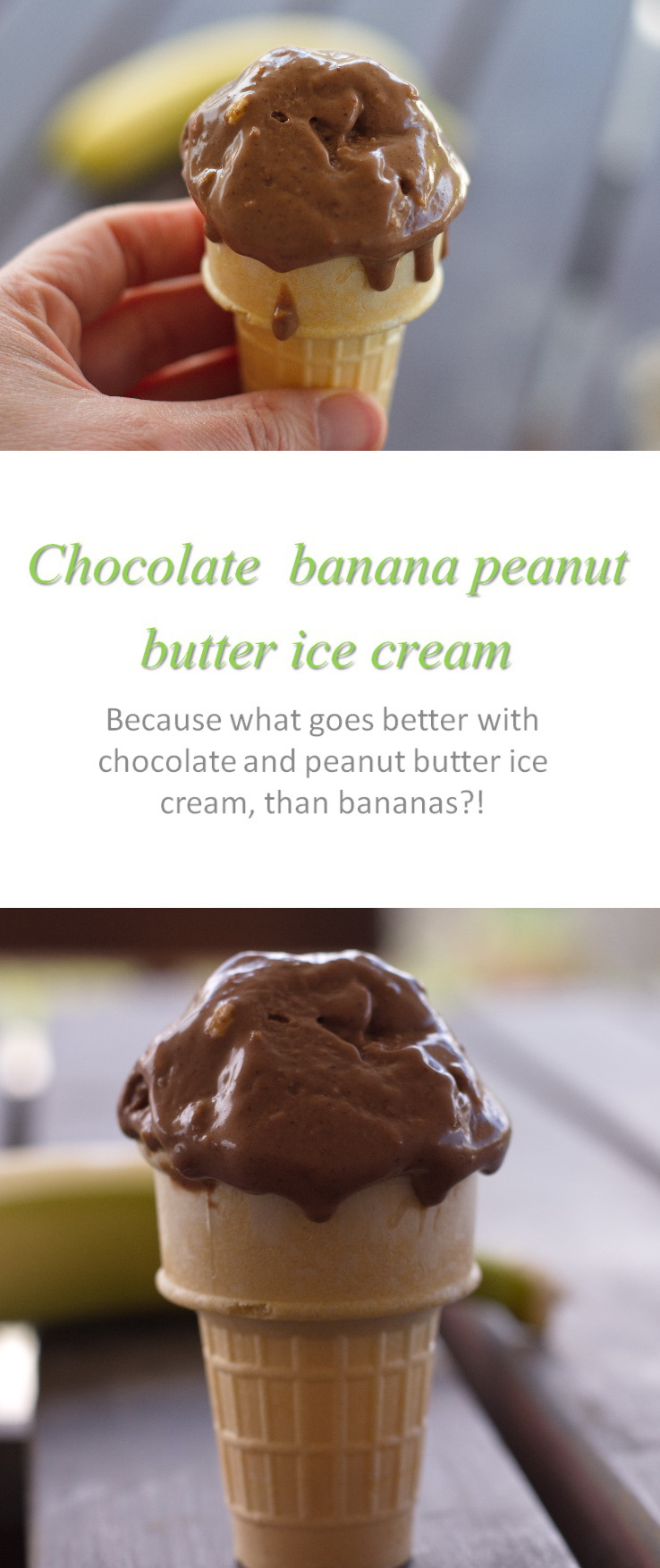 This chocolate banana peanut butter ice cream takes chocolate and peanut butter ice cream to another level with the additional banana in it! #icecream #cookathome #glutenfree #dairyfree #vegan