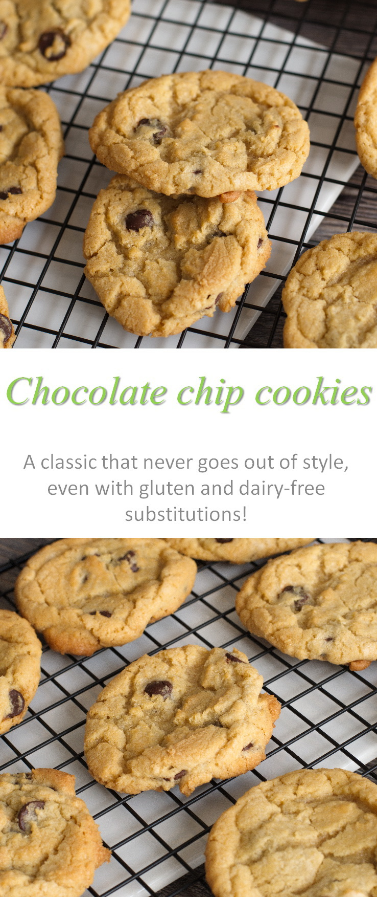A basic recipe for chocolate chip cookies - works well every time, even with gluten and dairy free substitutions! #cookies