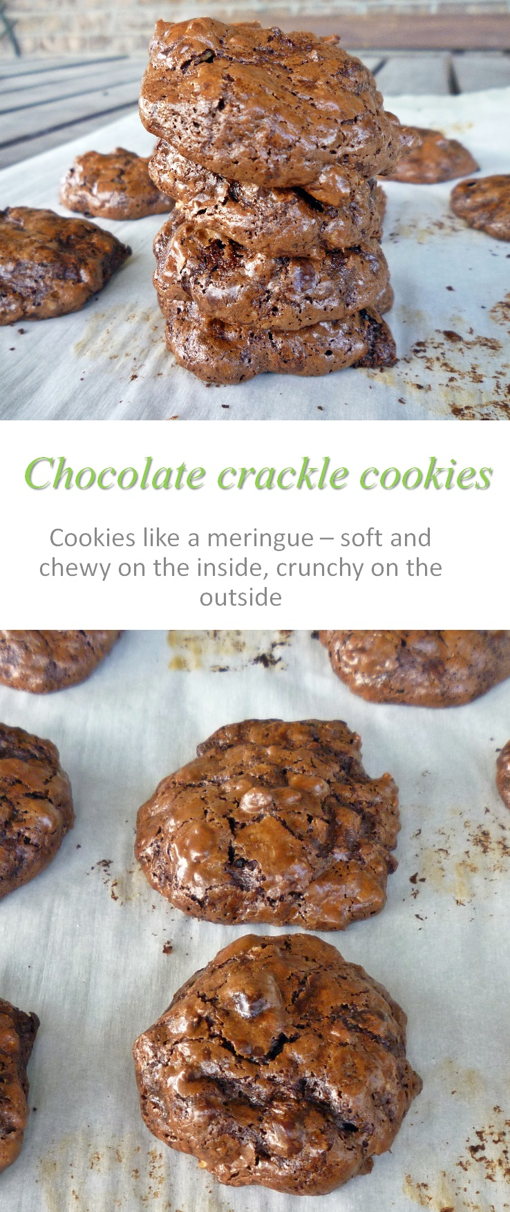These chocolate crackle cookies are so yummy - crunchy on the outside, chewy on the inside. Really easy to make, gluten and dairy-free as well! #cookies