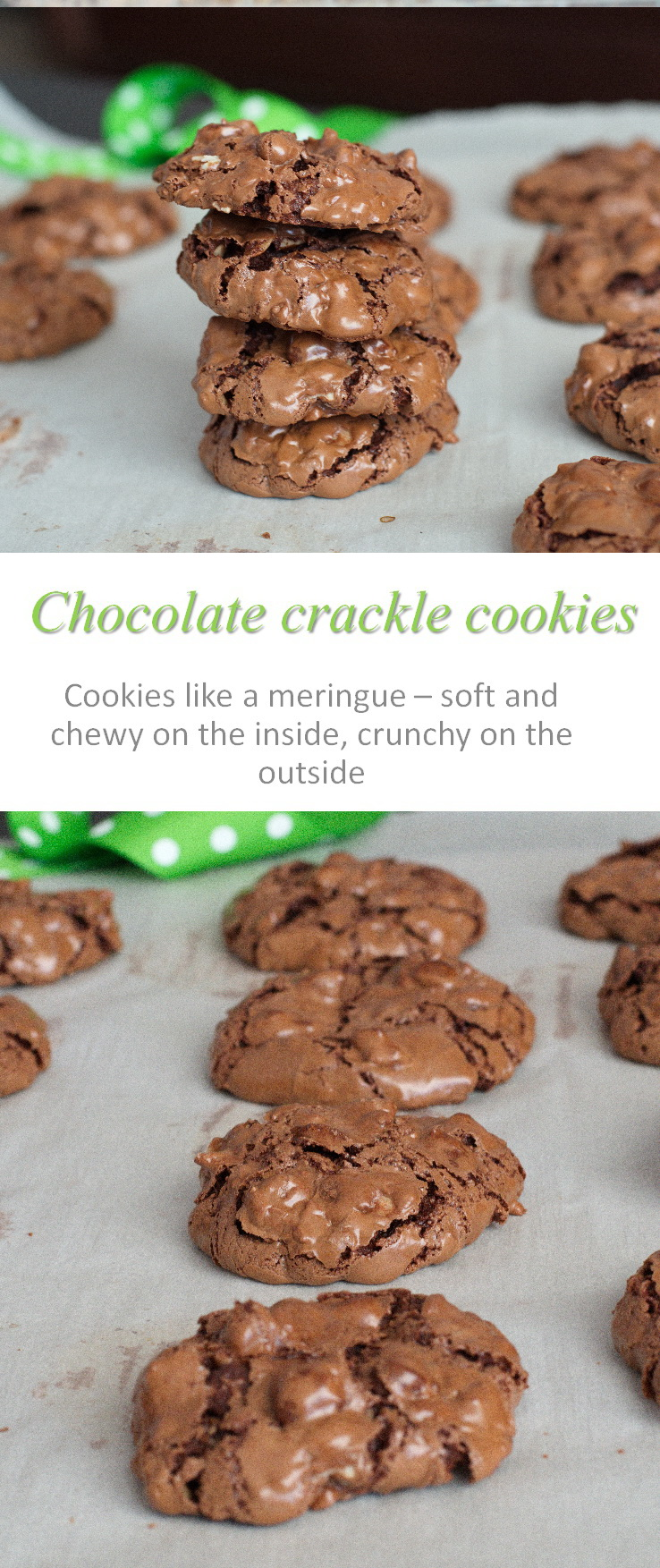 These chocolate crackle cookies are so yummy - crunchy on the outside, chewy on the inside. Really easy to make as well! #cookies