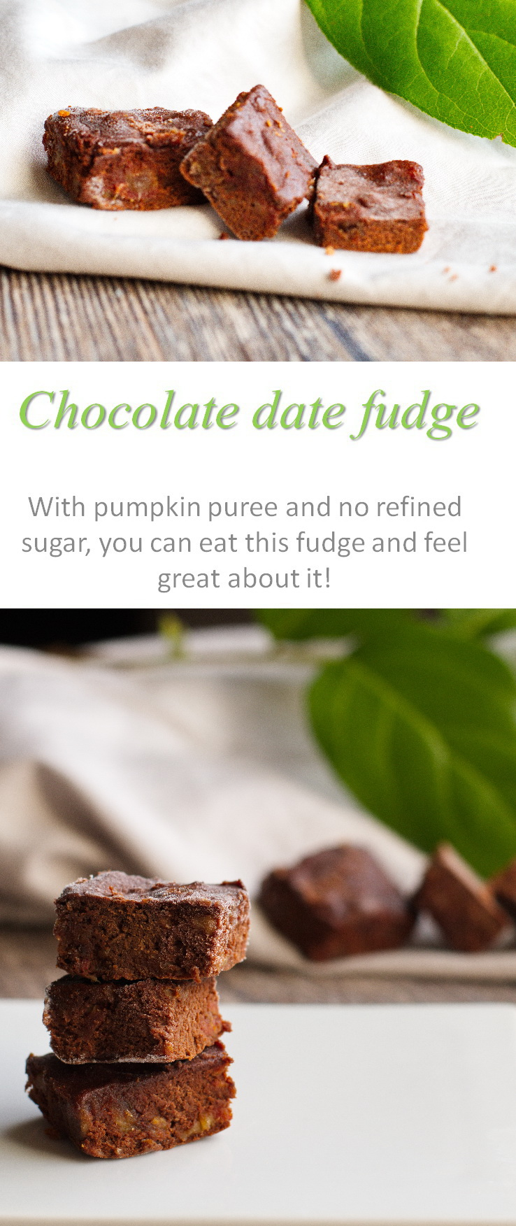 A dairy-free, gluten-free, refined-sugar free chocolate date fudge slice that is so yummy and less than 50 calories a piece. #fudge