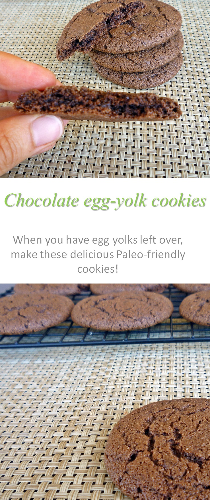 A delicious way to use up extra egg yolks - this Paleo-friendly chocolate egg yolk cookie recipe will leave you wanting more! #cookies