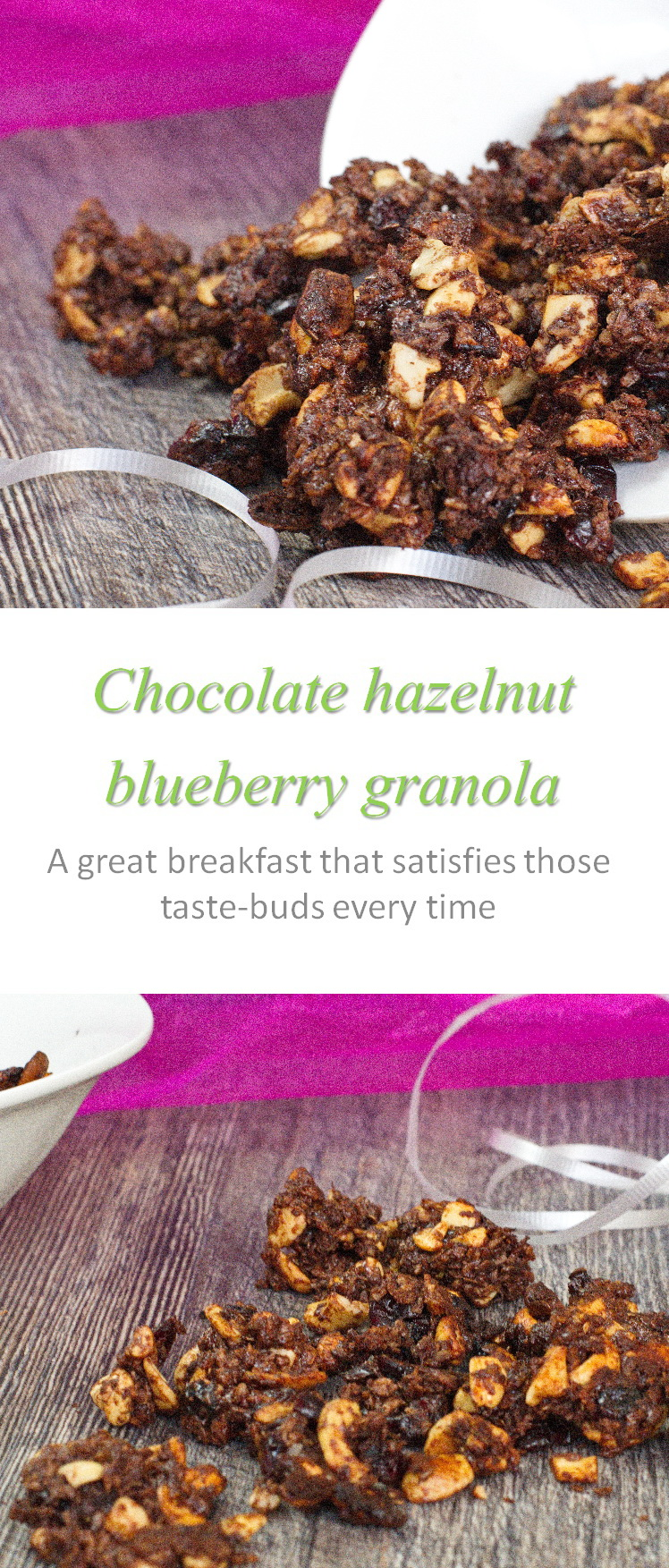 Chocolate hazelnut blueberry granola - a healthy and yummy way to have chocolate for breakfast! #granola