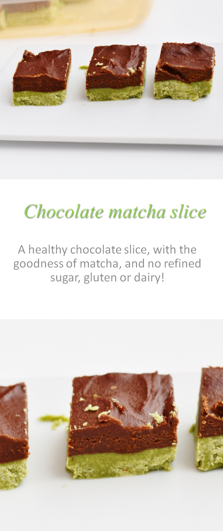 Using the extra goodness of the superfood matcha, this chocolate matcha slice is a match(a) made in heaven! #matcha