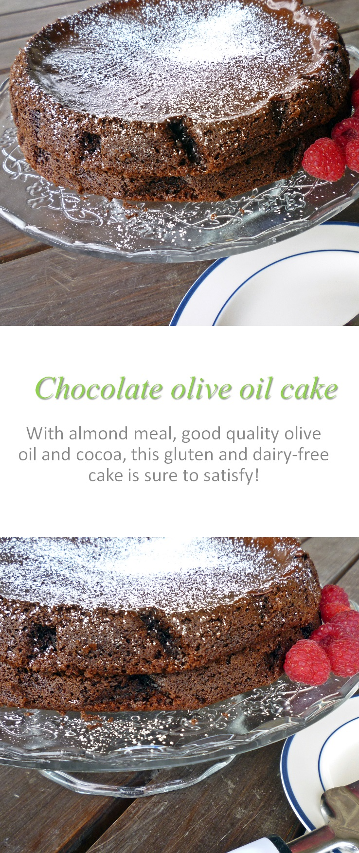 A moist, flourless chocolate cake that is the best one ever made, according to my family! Using olive oil, good quality cocoa and love ...! #flourlesscake