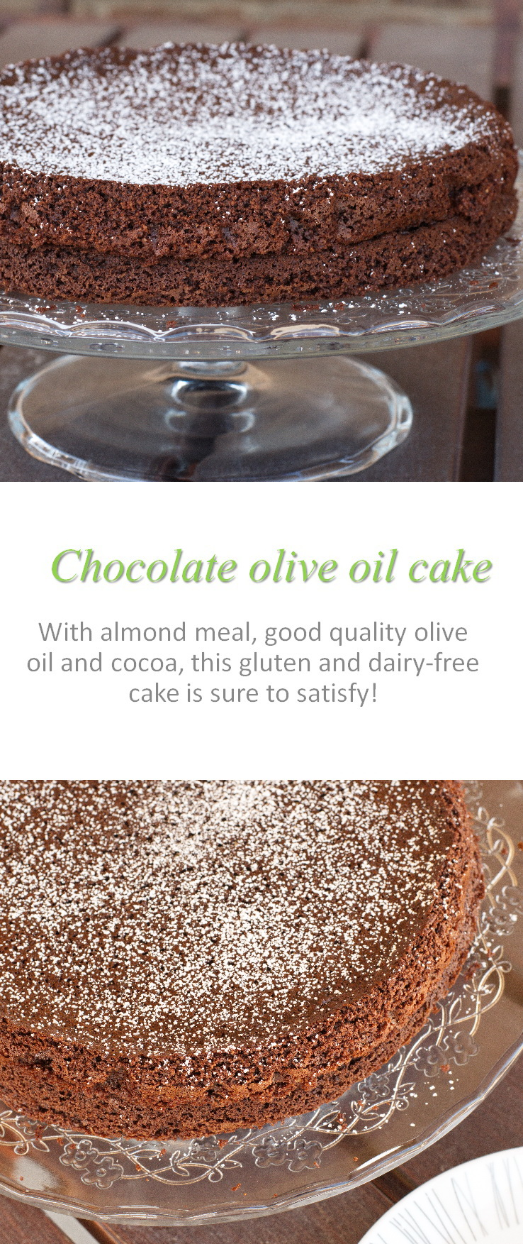 A moist, flourless chocolate cake that is the best one ever made, according to my family! Using olive oil, good quality cocoa and love ...! #flourlesscake #cookathome #glutenfree #dairyfree