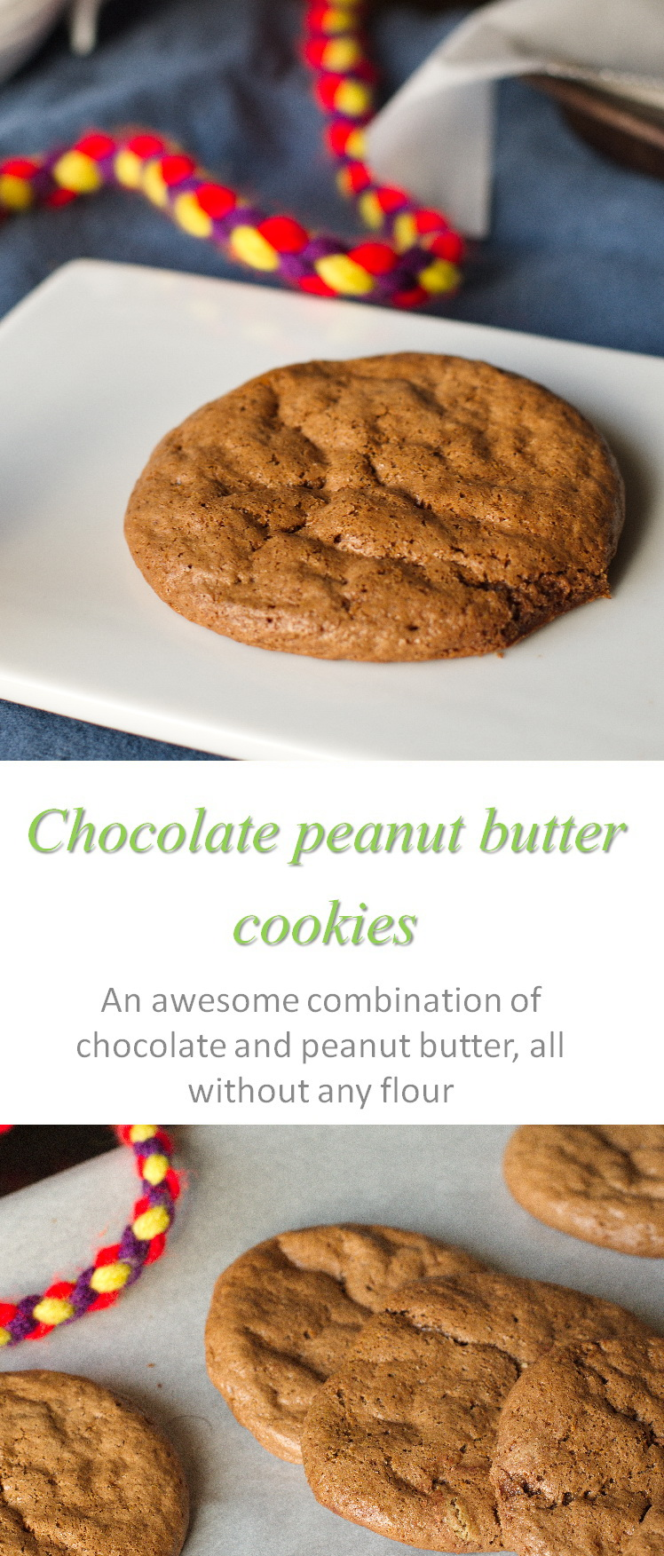 These are yummy flourless chocolate peanut butter cookies, using no gluten, no dairy but so very easy! #peanutbutter