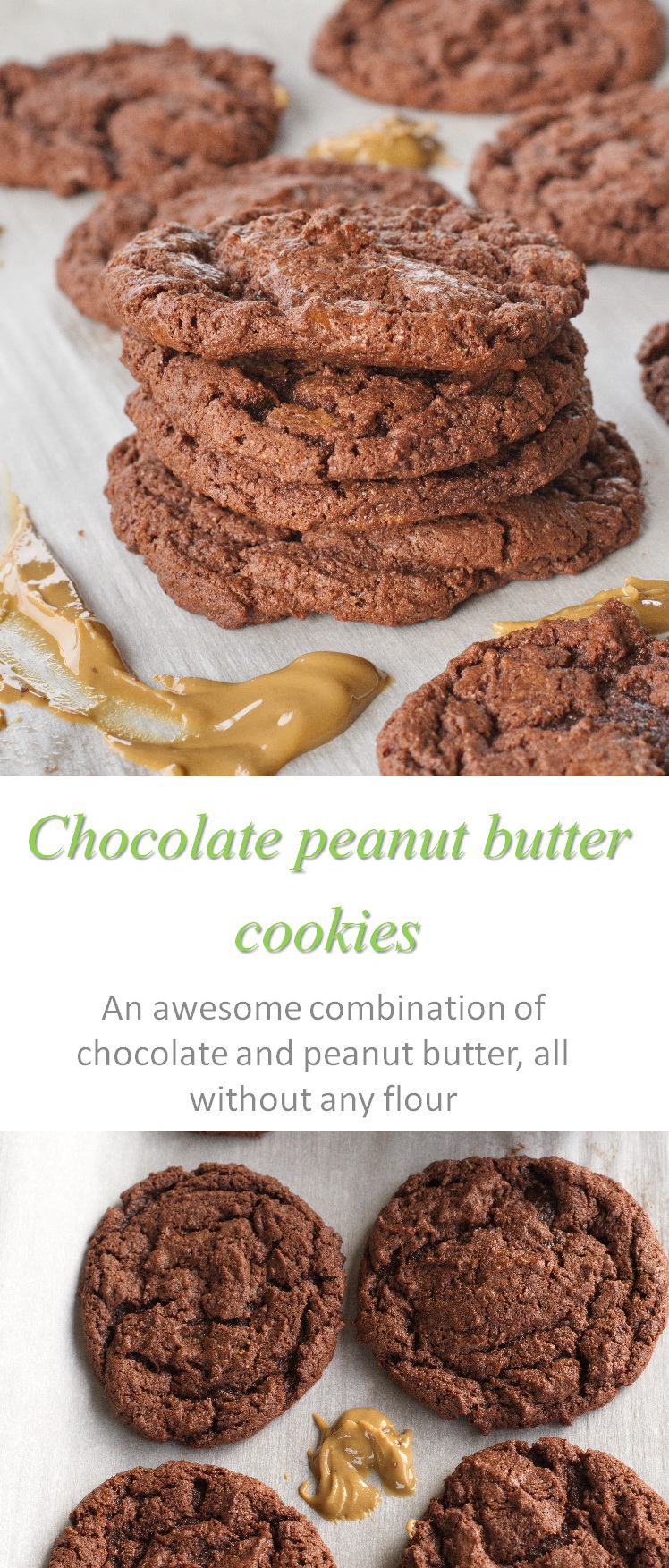 These are yummy flourless chocolate peanut butter cookies, using no gluten, no dairy but so very easy! #chocolatepeanutbutter #cookathome #glutenfree #dairyfree