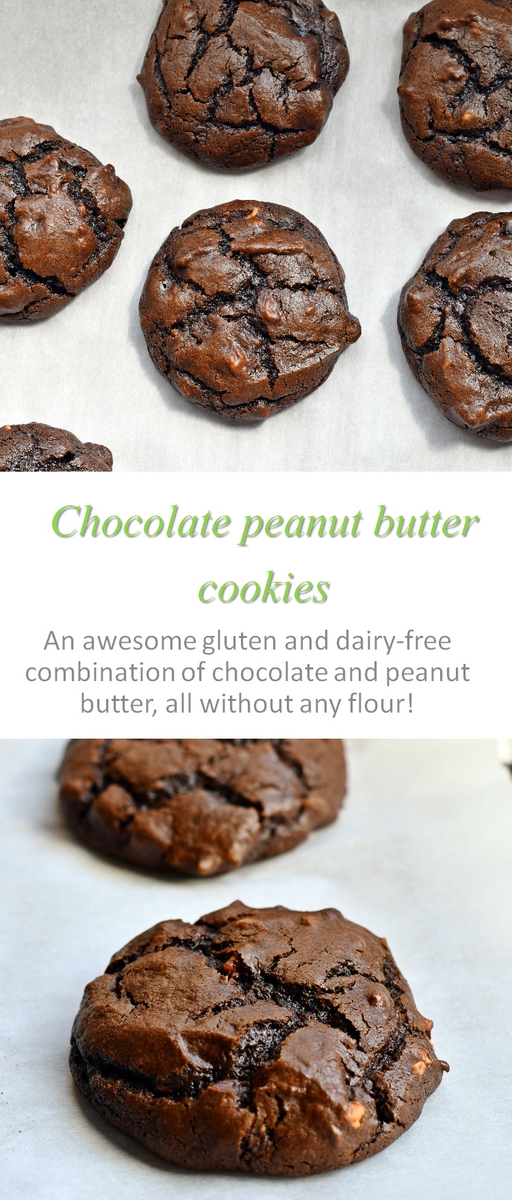 A yummy flourless chocolate peanut butter cookie, using no gluten, no dairy but so very easy! #peanutbutter