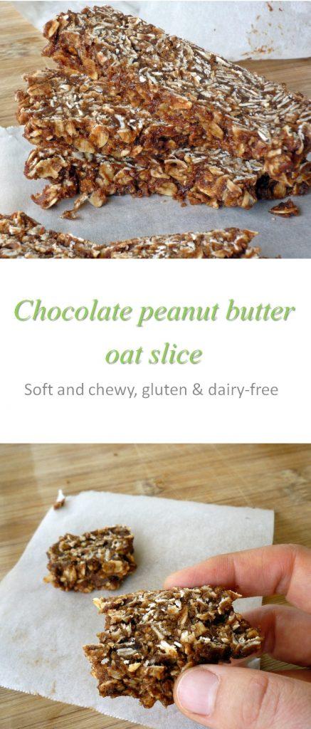 Chocolate peanut butter oat slice long P