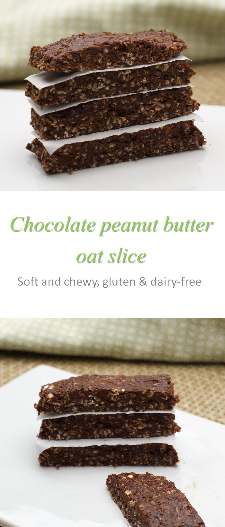 This no-bake chocolate peanut butter oat slice is very more-ish - portion control is required here! #oatslice