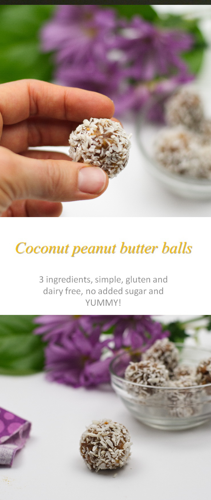 A yummy, simple recipe that has only 3 ingredients - peanut butter, raisins and coconut (with a little vanilla). These coconut peanut butter balls are really easy, no added sugar, so healthy! #peanutbutter
