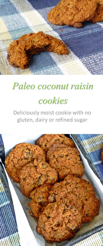 Paleo-friendly, delicious and moist, these coconut raisin cookies have such a delightful taste, they are the star of any gathering! #cookies