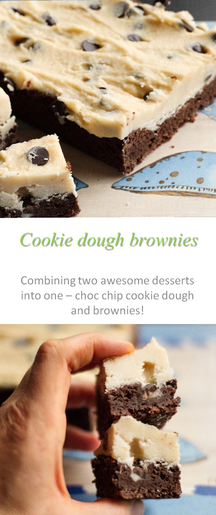 These chocolate chip cookie dough brownies are an awesome combination of chocolate chip cookie dough and brownies - all possible as gluten and dairy-free and still yummy! #brownies