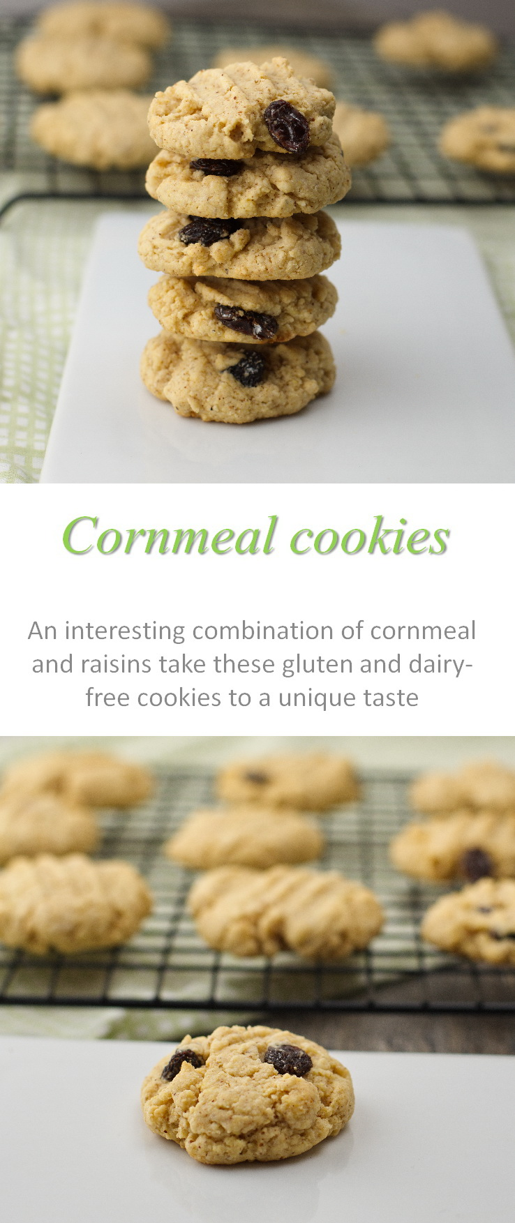 An interesting combination of cornmeal and raisins - these gluten-free cornmeal cookies are a unique but yummy taste! #cornmeal