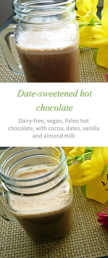 Date-sweetened hot chocolate, with the comforting taste you know and love, without the sugar high! #hotchocolate