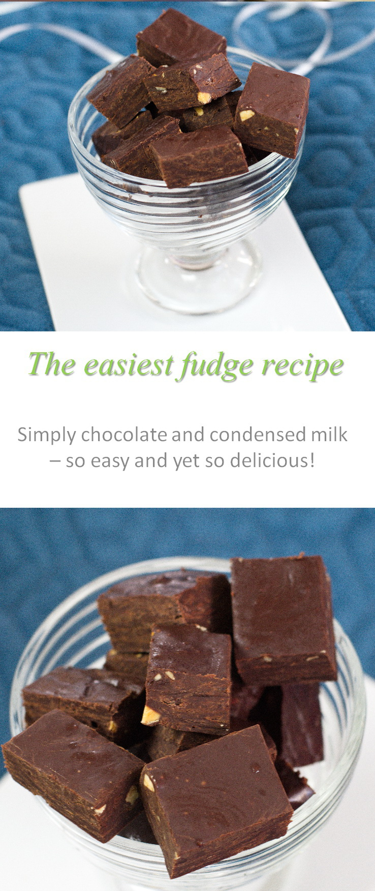Simply add chocolate to condensed milk, chill, and you have an extremely awesome and easy fudge!  And the dairy-free version is as good, if not better! #fudge
