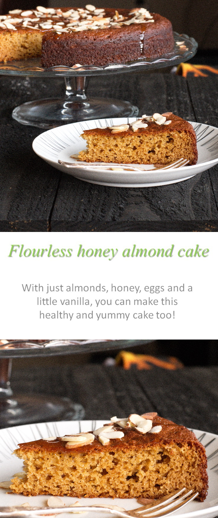 A light, flourless honey almond cake that is really yummy with cream, or just by itself! #flourless #honey #cake #glutenfree #dairyfree #paleo #norefinedsugar
