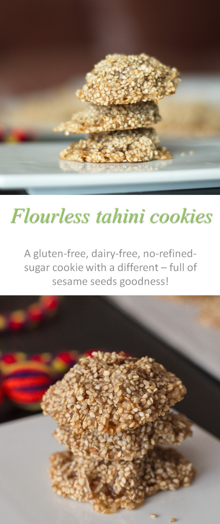 A gluten-free, dairy-free, refined-sugar-free tahini cookie that reminds you of the Middle East. #tahini