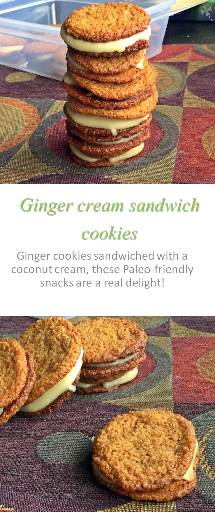 Paleo-friendly ginger cream sandwich cookies - for those times when you want something extra (but no refined sugar) with ginger cookies! #ginger